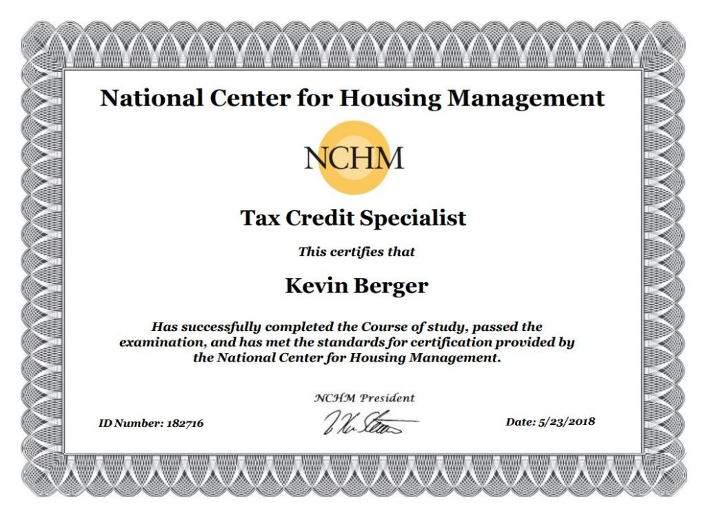 Tax Credit Specialist Certification Achieved Sand Hill Farm